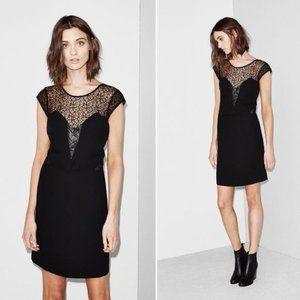 The Kooples Robe Noir Lace & Leather Dress Black